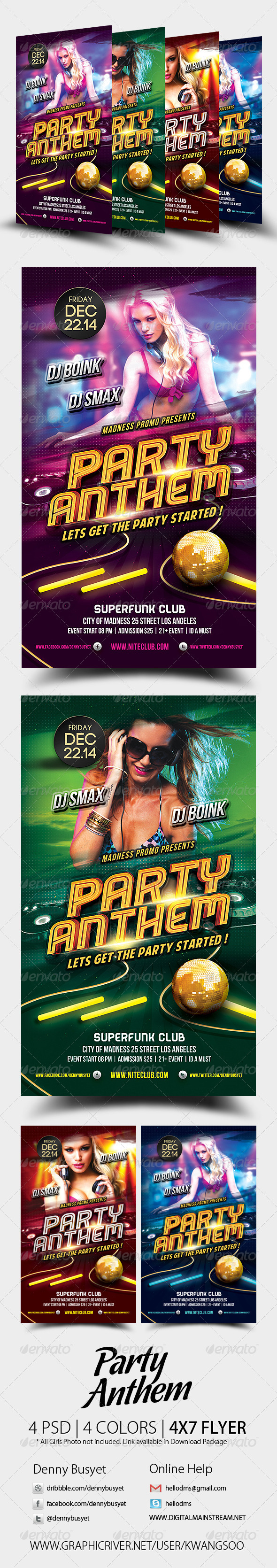 Party Anthem Nightclub Psd Flyer Template - Events Flyers