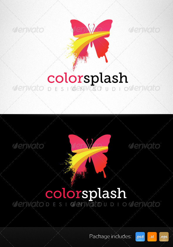 GraphicRiver Color Splash Butterfly Creative Logo Template 3423144