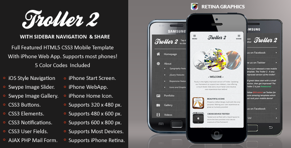 TrollerV2 Mobile Retina | HTML5 & CSS3 And iWebApp