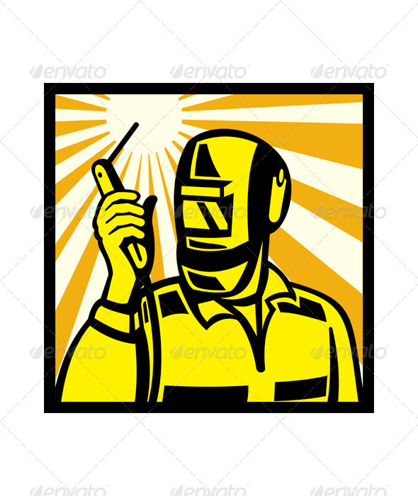 GraphicRiver Welder Worker Welding Torch Retro 3425737