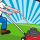 Lawn Mower Man Gardener Cartoon  - GraphicRiver Item for Sale