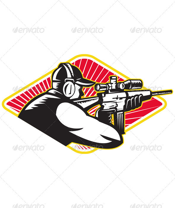 GraphicRiver Hunter Shooter Aiming Rifle Retro 3425855