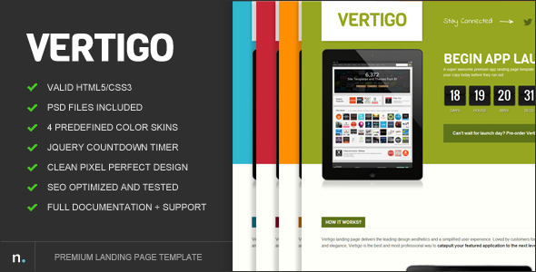 Vertigo Premium Landing Page - ThemeForest Item for Sale
