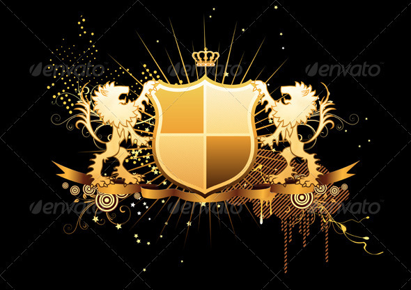 GraphicRiver Golden Heraldic Shield 3427510