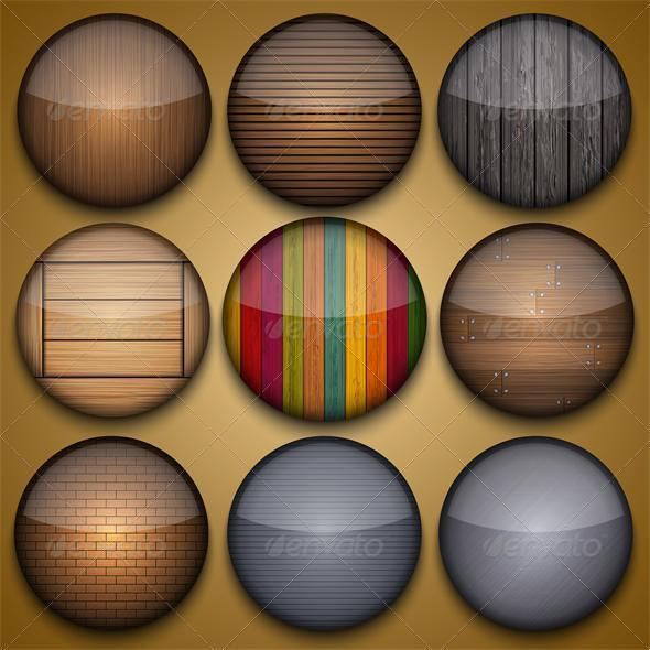 GraphicRiver Vector Creative Circle App Set on Brown Background 3429627