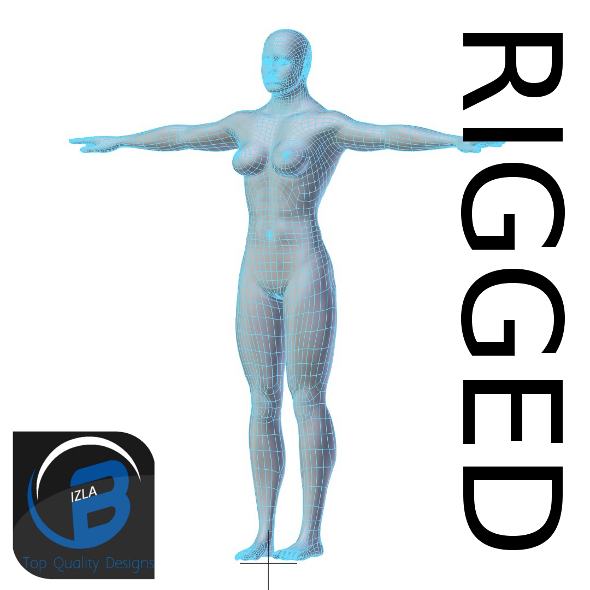 3DOcean RIGGED Muscular Woman Base Mesh HIGH POY 3430948