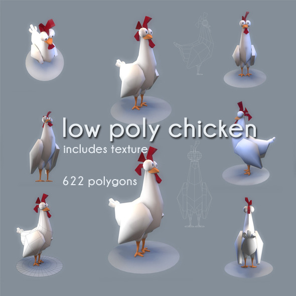 3DOcean Low Poly Chicken 3431080