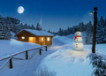 log cottage in a winter christmas scene - PhotoDune Item for Sale