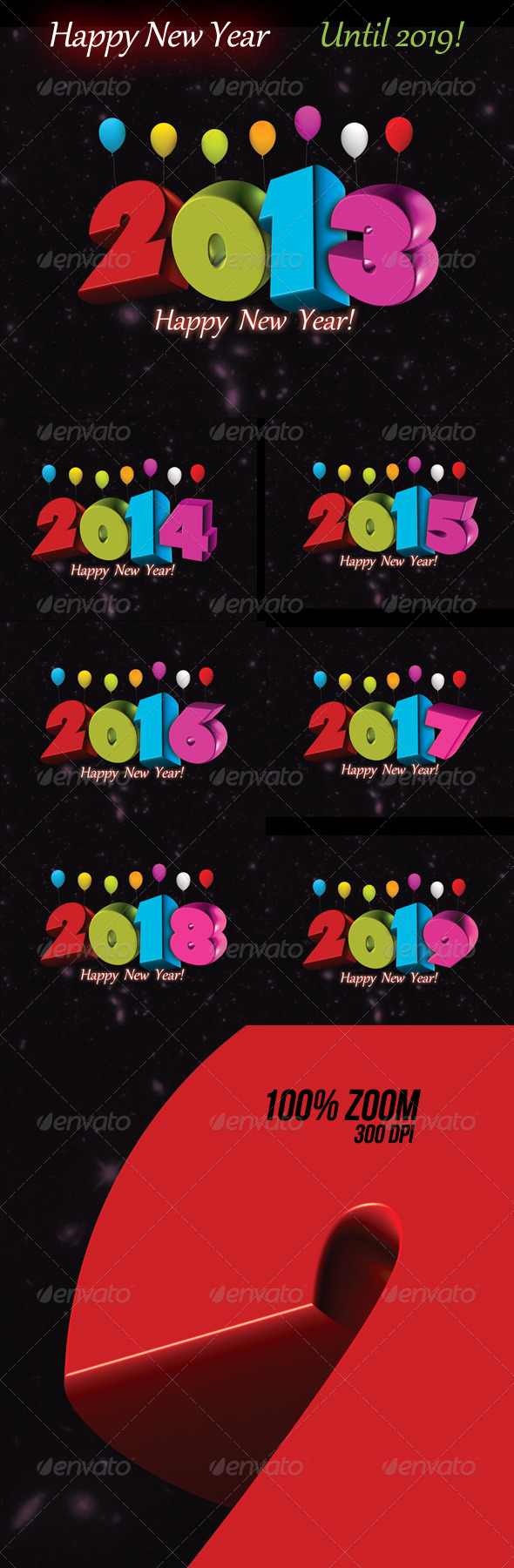 GraphicRiver Happy new year set until 2019 3431388