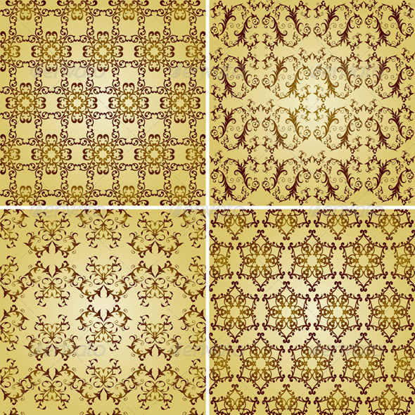 GraphicRiver Vector Seamless Golden Patterns Oriental Style 3431501