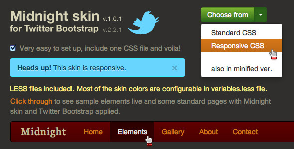 Midnight - responsive skin for Twitter Bootstrap - CodeCanyon Item for Sale