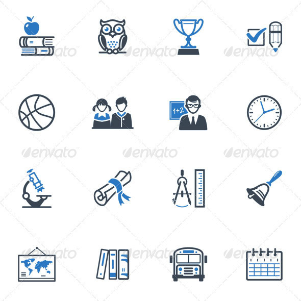 GraphicRiver School and Education Icons Set 3 Blue Series 3432380