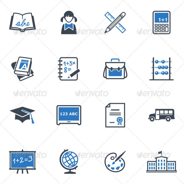 GraphicRiver School and Education Icons Set 1 Blue Series 3432417
