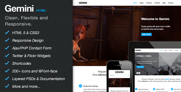 Gemini - Clean Responsive Theme - Creative Site Templates