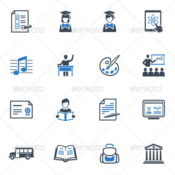 GraphicRiver School and Education Icons Set 2 Blue Series 3432452