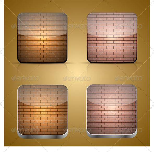 GraphicRiver Vector App Brick Icon Set on Brown Background 3434523
