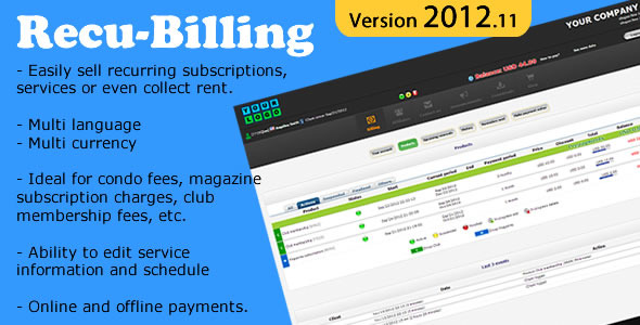 RecuBilling - Recurring Billing - WorldWideScripts.net Item for Sale