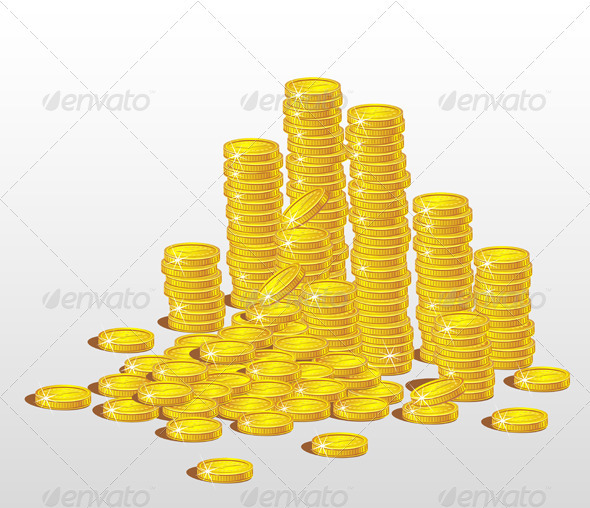 GraphicRiver Stacks of Gold Coins The Concept of Profit 3435016