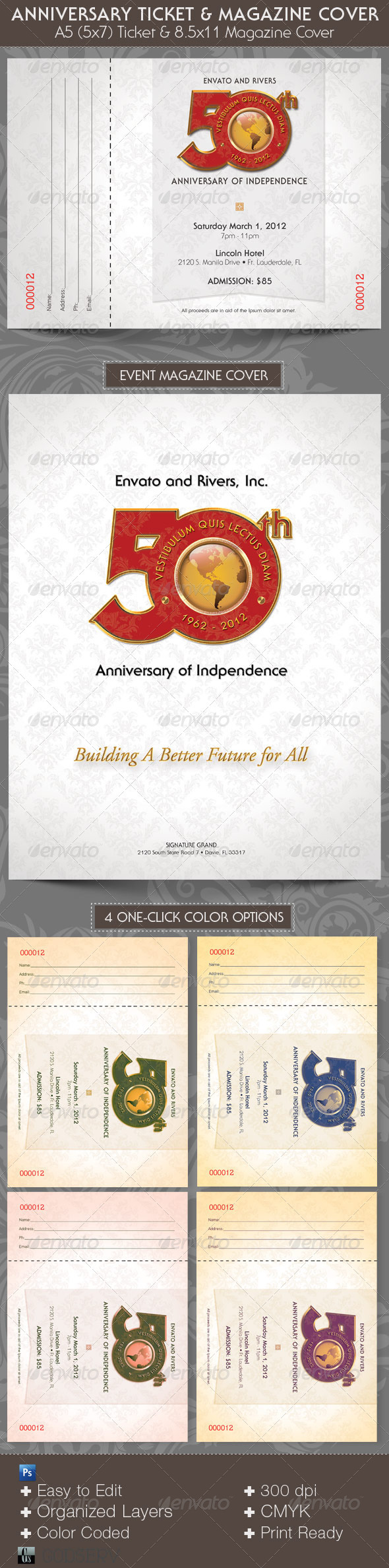 Anniversary Event Ticket and Magazine Cover - Miscellaneous Print Templates