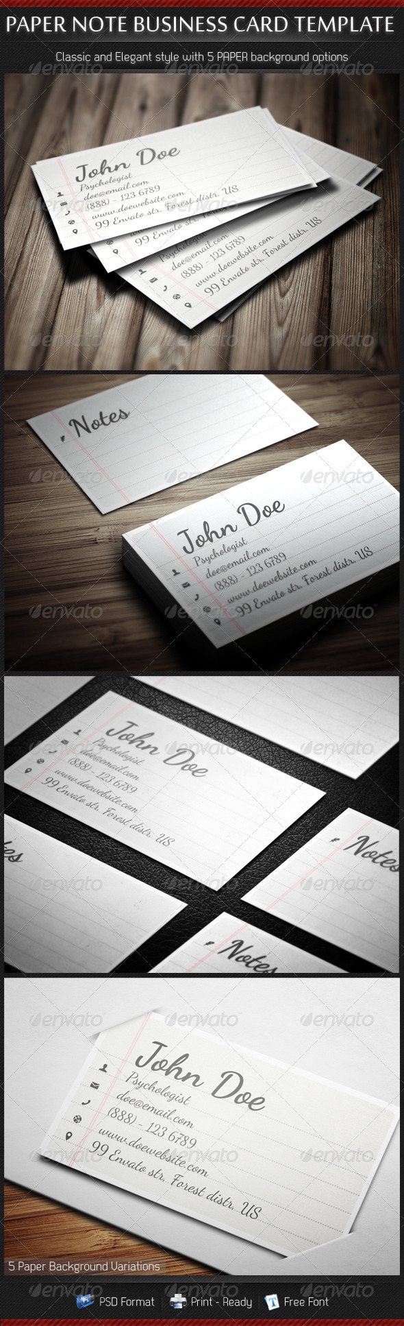 GraphicRiver Paper Note Handscript Creative Business Cards 3435410
