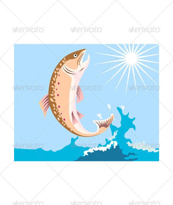 GraphicRiver Trout Fish Retro 3435556