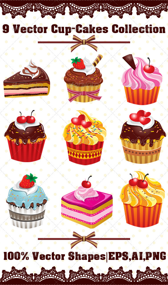 GraphicRiver 9 Various Cup-Cakes Collection 3435688