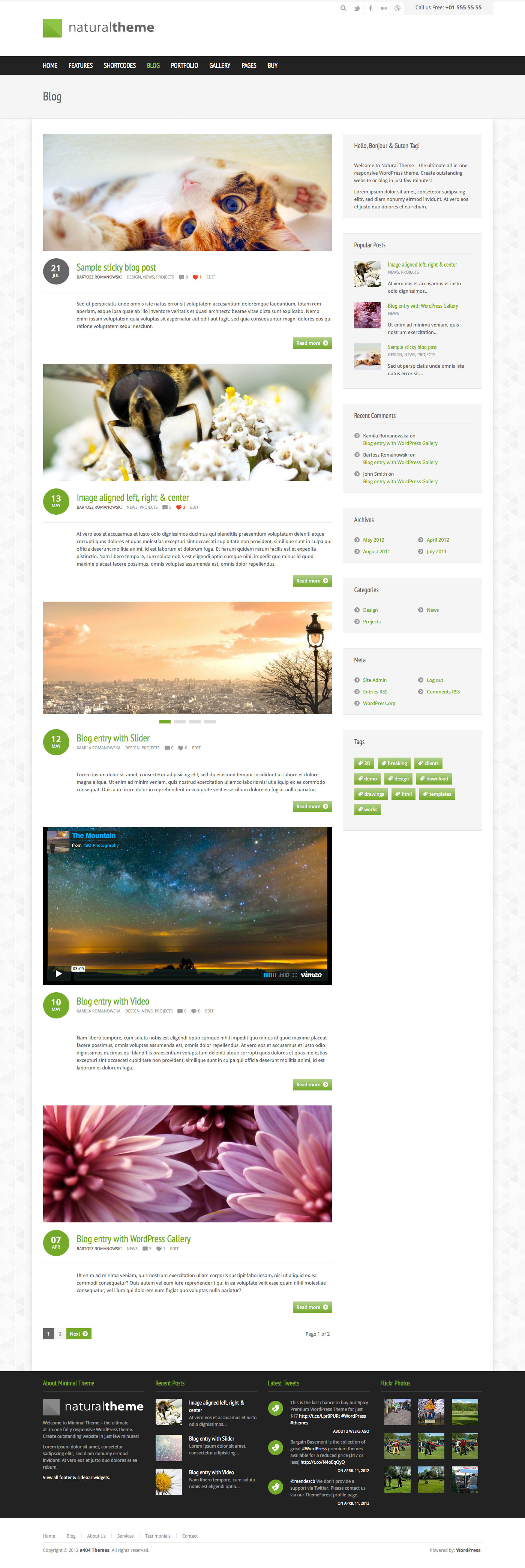 Natural - Powerful Responsive WordPress Theme - Blog page.