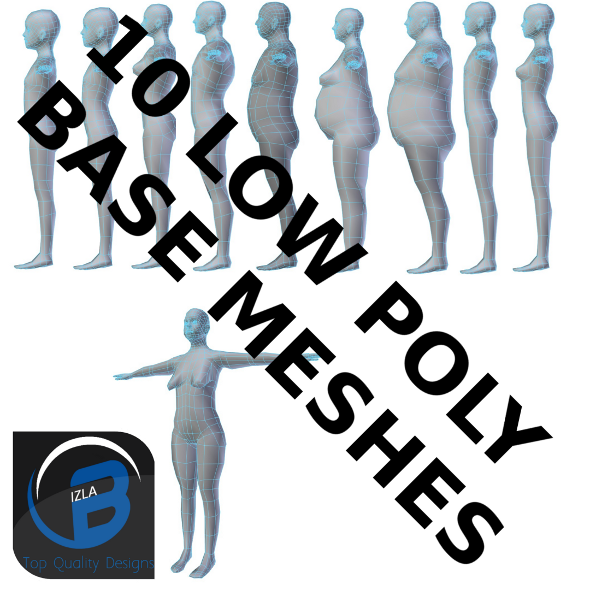3DOcean 10 Low Poly Base Meshes 3437765