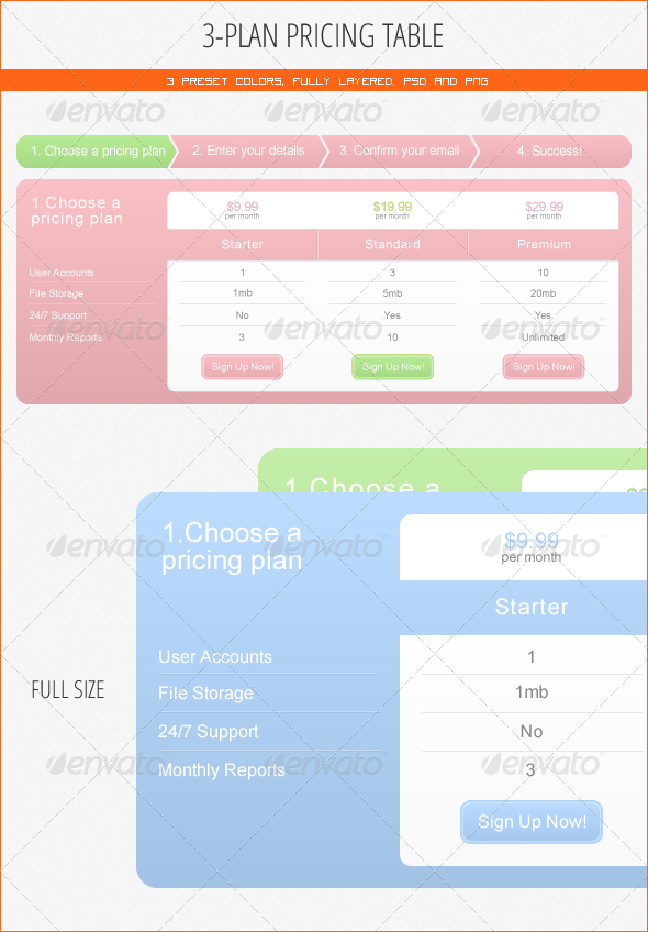 GraphicRiver 3-Plan Pricing Table 115008