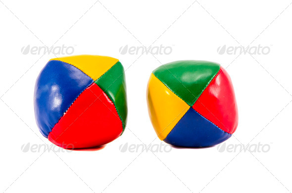 two colorful jugglery balls isolated on white - Stock Photo - Images