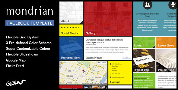Mondrian - HTML/CSS Facebook Template - Marketing Corporate