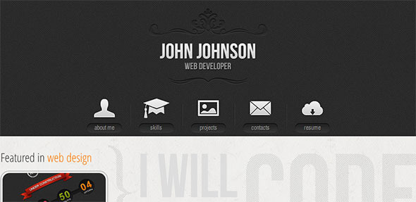 ThemeForest Resume single page portfolio vcard theme 3377754