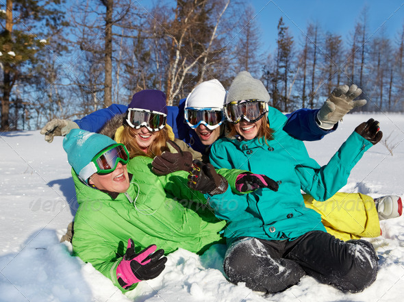 Cheerful winter vacations - Stock Photo - Images