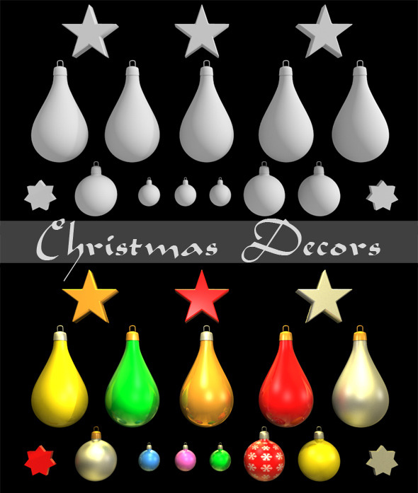 3DOcean Christmas Decors Balls and Stars 3442619