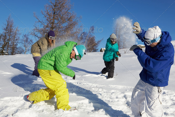 Playing snowfight - Stock Photo - Images