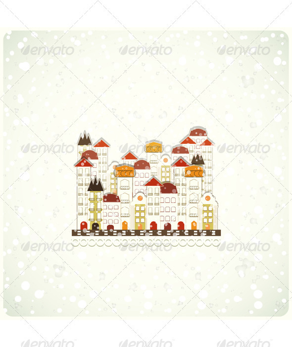 GraphicRiver Small white town and snow 3446729