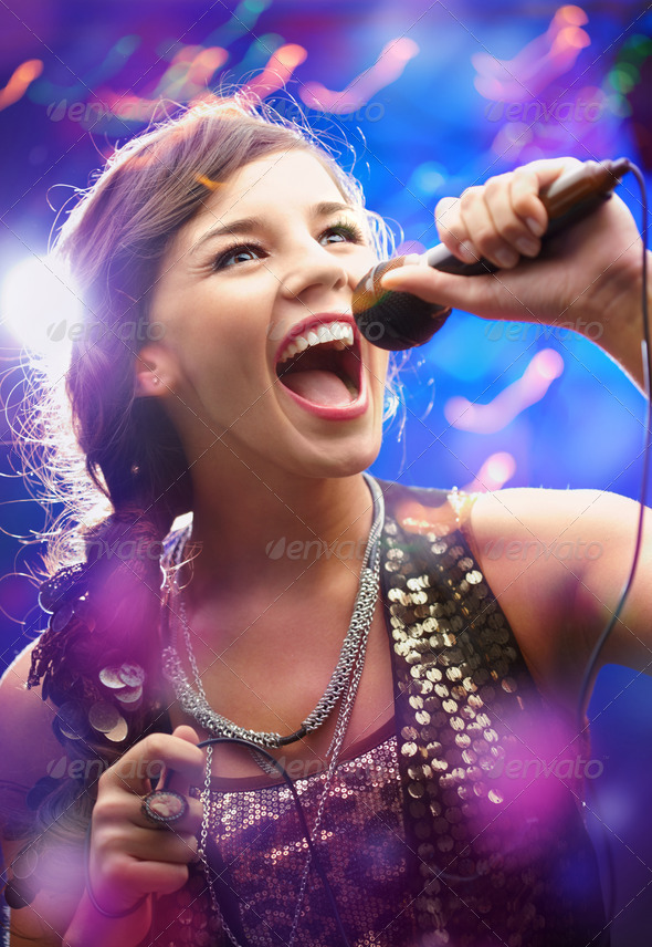 Beautiful singer - Stock Photo - Images