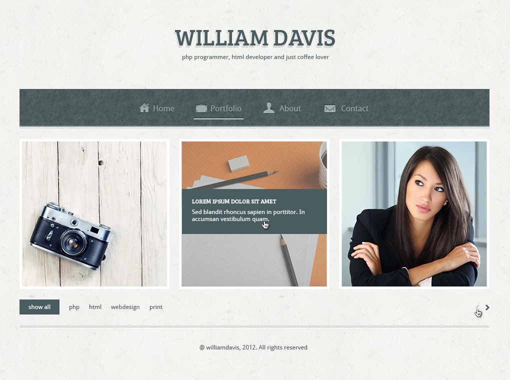 William Davis vCard - Responsive HTML5 Template