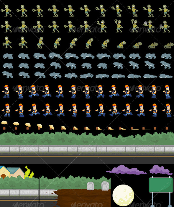 GraphicRiver Zombie Shooter Game Sprites 3450195