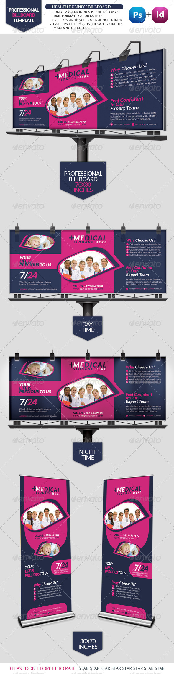 GraphicRiver Health Business Bilboard Roll-Up 3427512