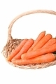 organic carrots in a straw basket, isolated on white - PhotoDune Item for Sale
