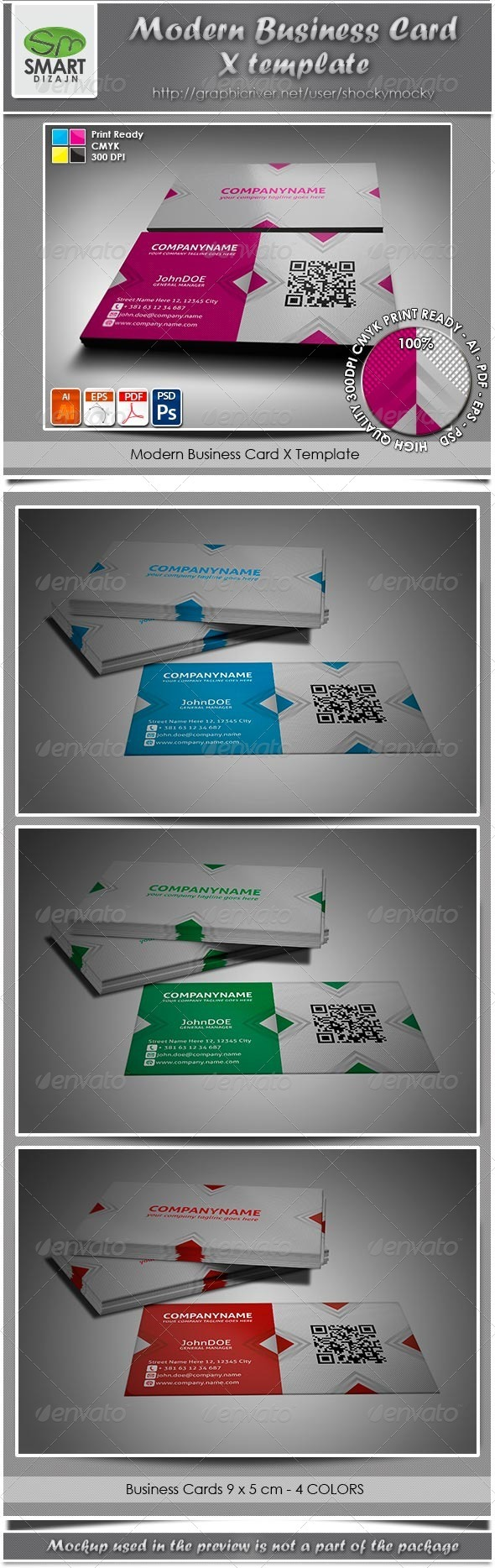 Modern Business Card X Template - Creative Business Cards