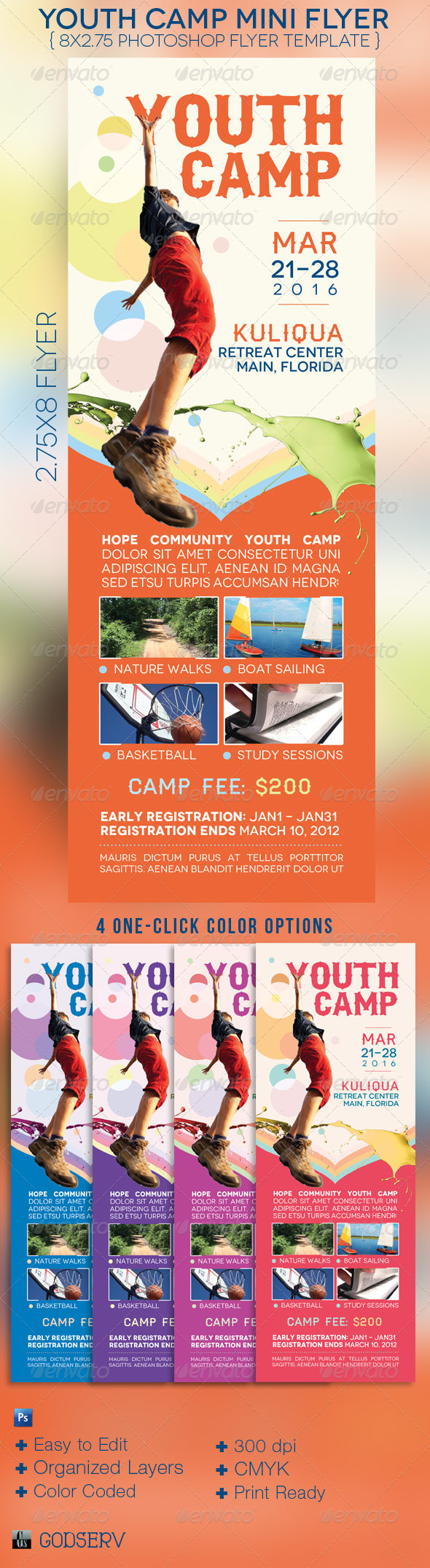 Youth Camp Mini Flyer Template - Church Flyers