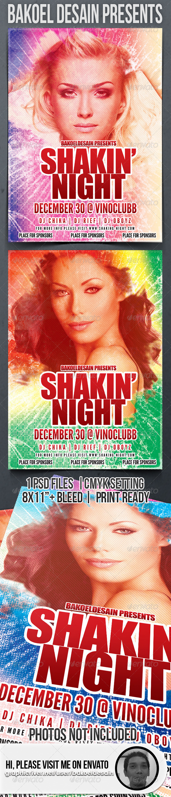 Shaking Night Retro Party Flyer - Clubs & Parties Events
