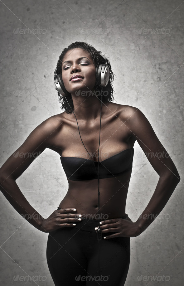 Black Girl Music - Stock Photo - Images