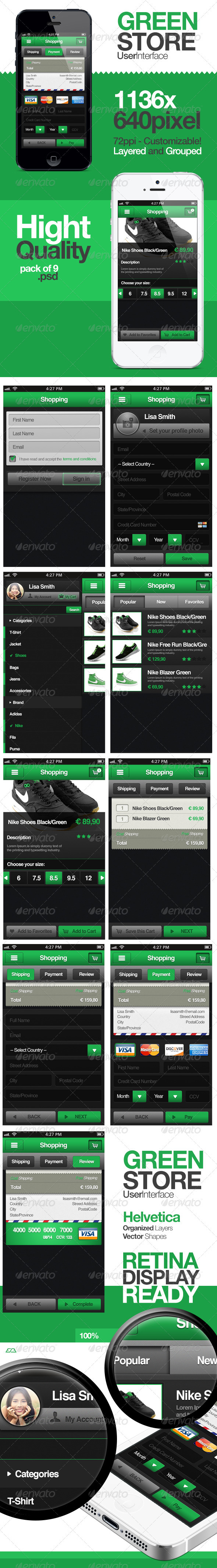 GraphicRiver Green Store Shopping User Interface 3457663