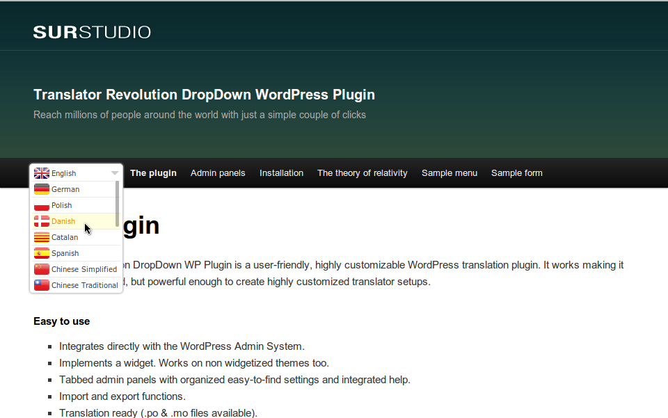 Ajax Translator Revolution DropDown WP Plugin - Check out the live preview at http://www.surstudio.com.ar/translator-revolution-dropdown-widget-wordpress-plugin/