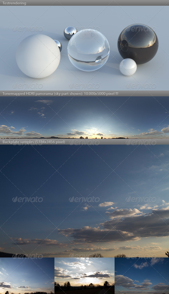 3DOcean HDRI spherical sky panorama 1844- evening sun 3102549