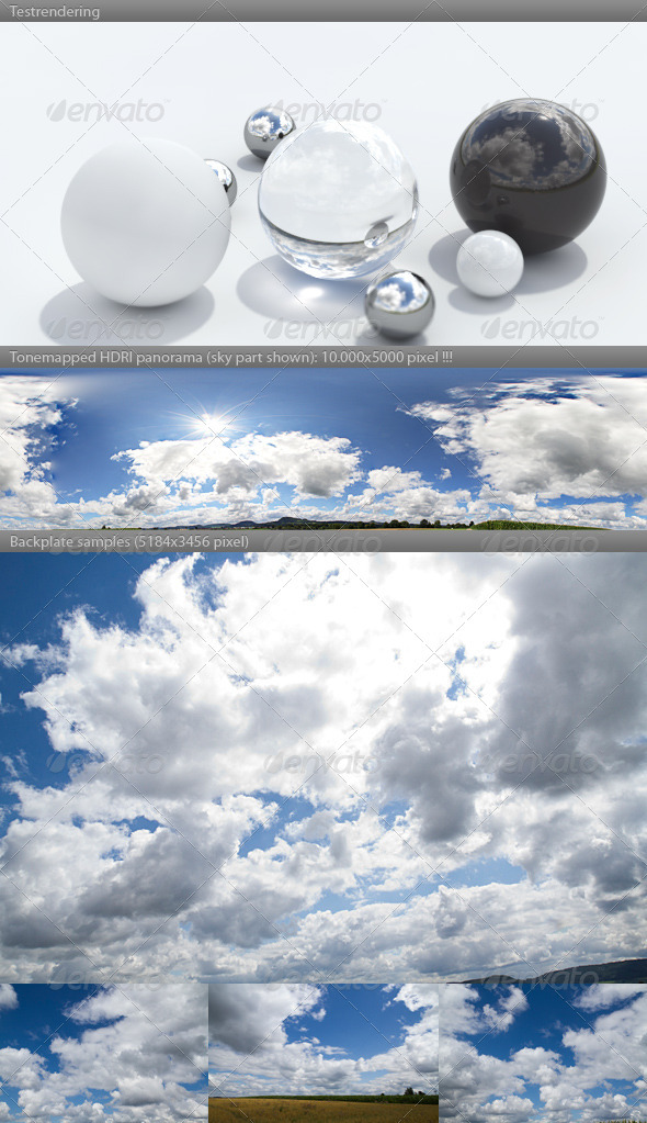3DOcean HDRI spherical sky panorama 1158 sunny clouds 2919568