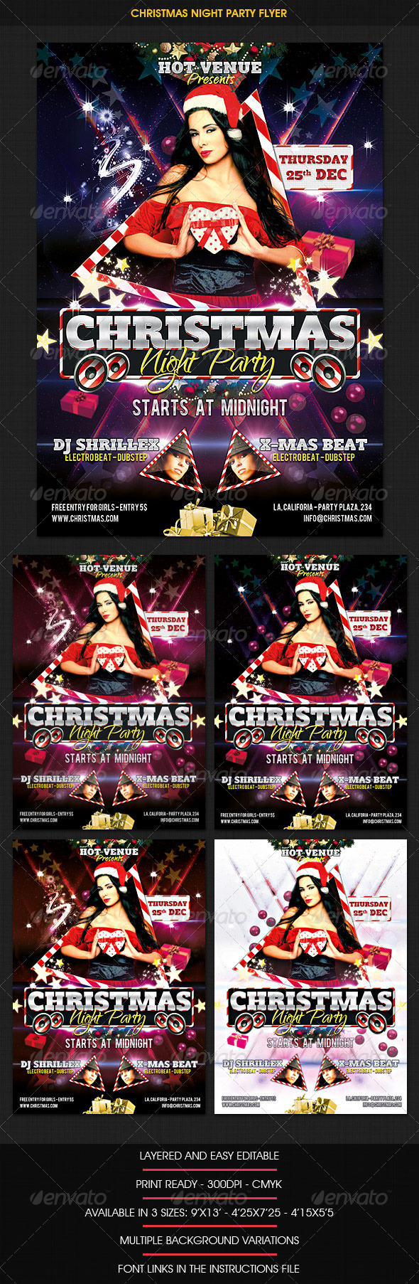Christmas Night Party Flyer - Clubs & Parties Events